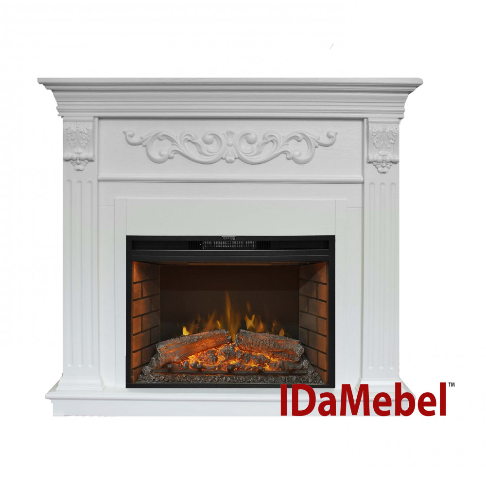 Каминокомплект IDaMebel Marseille Goodfire 26 Белый Ясень